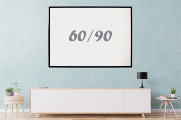 לוח מחיק עם מסגרת שחורה 90x60