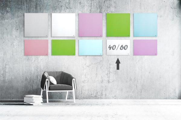 """לוח מחיק זכוכית מגנטי צבע לבן 40/60 ס""""מ מסדרת Bclear mini"""
