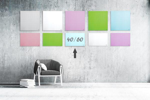 """לוח מחיק זכוכית מגנטי צבע תכלת 40×60 ס""""מ מסדרת Bclear mini"""