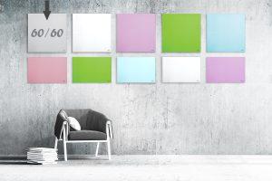 """לוח מחיק זכוכית מגנטי צבע אפור 60×60 ס""""מ מסדרת Bclear mini"""