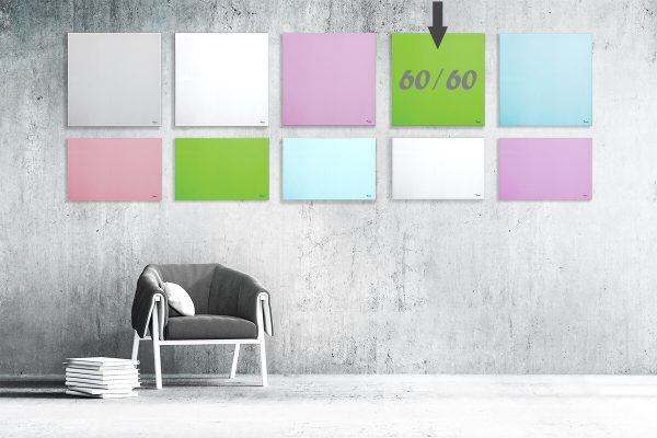 """לוח מחיק זכוכית מגנטי צבע ירוק 60×60 ס""""מ מסדרת Bclear mini"""