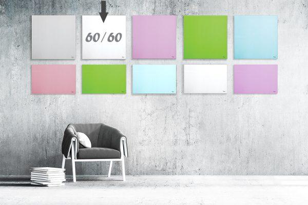 """לוח מחיק זכוכית מגנטי צבע לבן 60×60 ס""""מ מסדרת Bclear mini"""