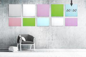 """לוח מחיק זכוכית מגנטי צבע תכלת 60×60 ס""""מ מסדרת Bclear mini"""