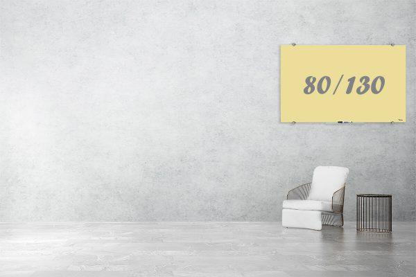 לוח זכוכית מחיק בצבע צהוב 80/130
