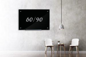 לוח זכוכית מגנטי שחור 60/90