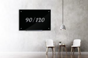 לוח מחיק - לוח זכוכית מגנטי שחור 90/120
