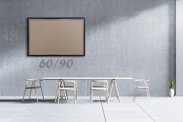"""לוח שעם עם מסגרת שחורה מידה 60×90 ס""""מ"""