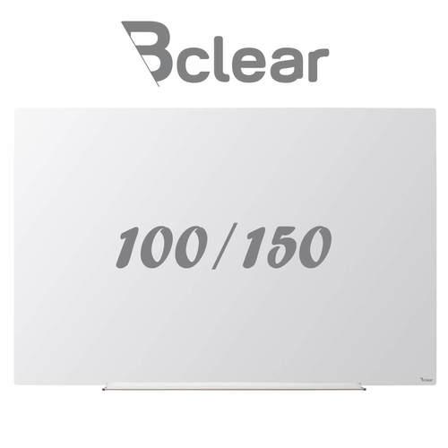 לוח מחיק זכוכית מגנטי לבן 100x150 ס''מ תליה נסתרת סדרת INVISIBLE