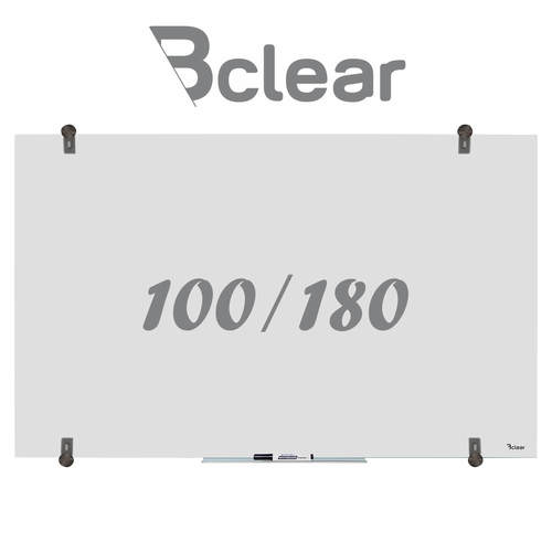 """לוח מחיק זכוכית שקוף מט 100x180 ס""""מ סדרת Bclear Ice"""