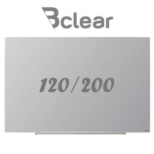 לוח מחיק זכוכית מגנטי אפור 120x200 ס''מ תליה נסתרת סדרת INVISIBLE