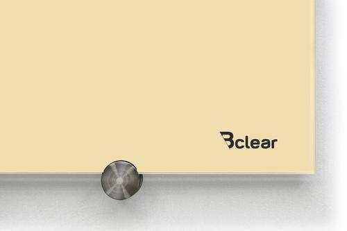 לוח מחיק זכוכית מגנטי צבע צהוב פסטל מסדרת Bclear COLOR זווית צד של הלוח
