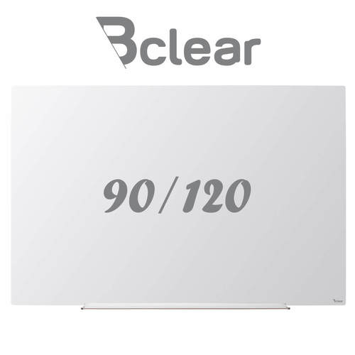 לוח מחיק זכוכית מגנטי לבן 90x120 ס''מ תליה נסתרת סדרת INVISIBLE