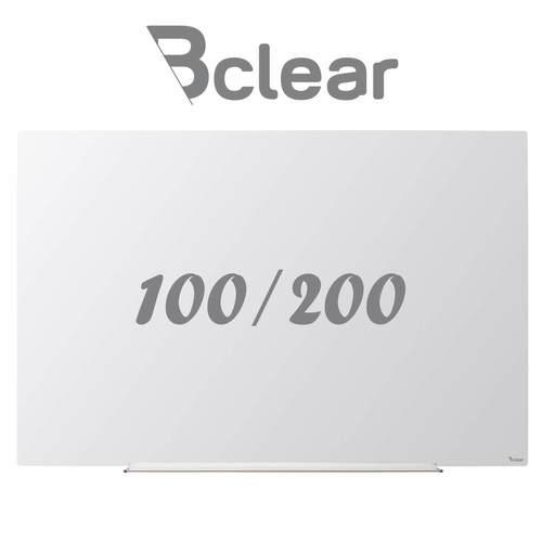 """לוח מחיק זכוכית מגנטי סדרת תליה נסתרת של Bclear בגודל 100x200 ס""""מ, זכוכית מחוסמת Extra Clear בצבע לבן, מחיקות מושלמת, מגנטי, 15 שנות אחריות, התקנות בכל הארץ"""